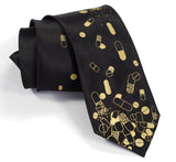 Black and gold pill necktie.