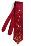 burgundy red pill necktie. Gold print