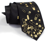 Pill tie. Gold on black.
