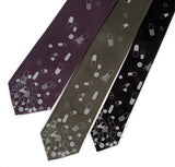 Pill Spill Necktie: Dove gray on charcoal, olive, black.