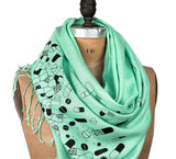 Pills Scarf: Black on mint pashmina.