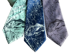 Pisces Necktie, Fishes Zodiac Constellation Print Tie