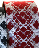 Burgundy Design Addict Necktie. Plaid Habit Tie