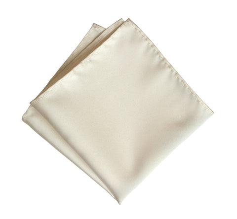 Platinum Pocket Square. Cream Solid Color Satin Finish, No Print