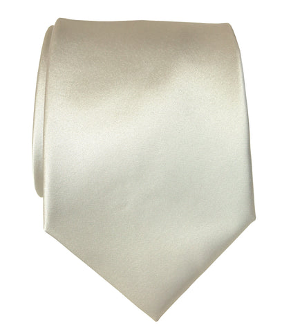 Platinum Necktie. Cream Solid Color Satin Finish Tie, No Print