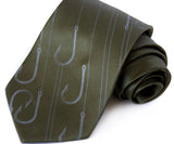 Olive green fishing necktie