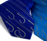Fishing Necktie. Dove gray on royal blue, electric blue.