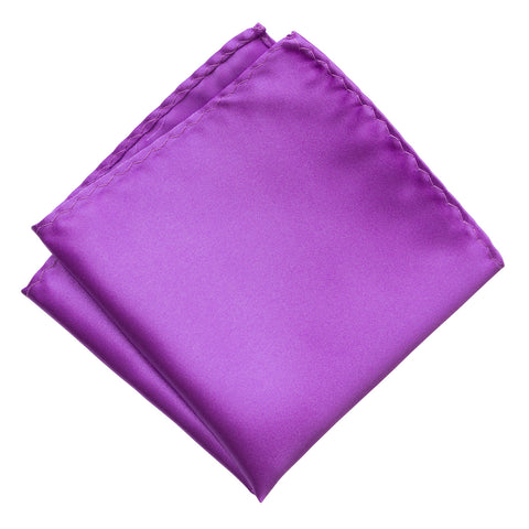 Plum Violet Pocket Square. Solid Color Satin Finish, No Print