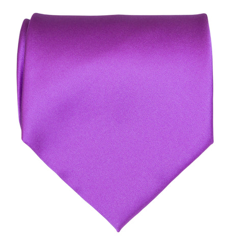 Plum Violet Necktie. Solid Color Satin Finish Tie, No Print