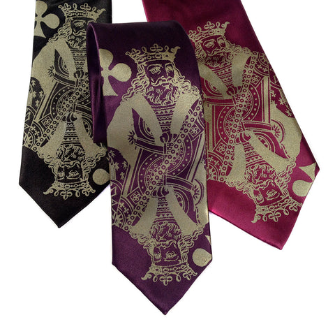 "Playing Card Silk Necktie. ""Poker Face"" King tie"
