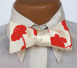 Cream tie with dark coral ink.