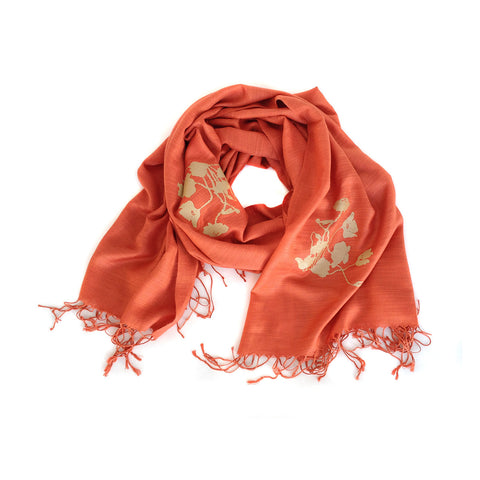 Poppies Scarf. Floral print, linen-weave pashmina