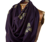 Poppy pashmina. Antique brass on eggplant scarf.
