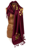 Poppy pashmina. Gold ink on maroon scarf.