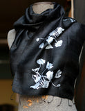 Poppy silk scarf. Silver ink on black silk scarf.
