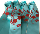 Cyberoptix custom printed wedding ties, Poppy print, aqua and red