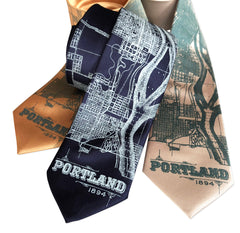 Portland Oregon Map Necktie, Pacific Northwest Tie