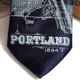 1894 Portland Oregon Map Necktie, Navy Blue Tie. by Cyberoptix
