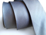 light blue woven herringbone silk necktie