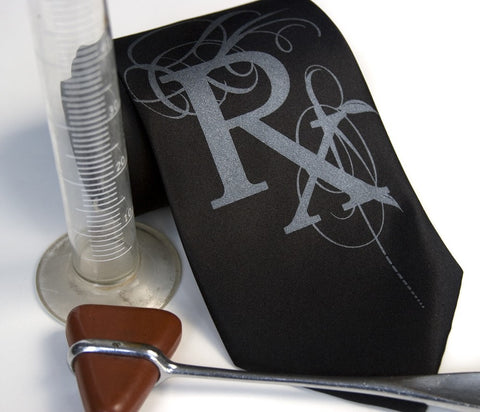 Prescription Rx Necktie, Fancy Flourish