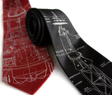 Project Mercury Necktie, crimson & black silk ties.