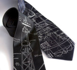 Project Mercury Necktie, black & navy silk ties.