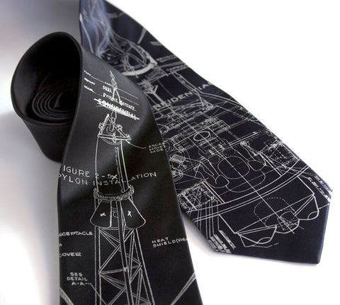 Project Mercury Necktie. Space exploration silk necktie