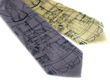Mercury Rocket blueprint neckties.