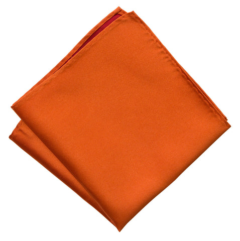 Pumpkin Spice Pocket Square. Medium Orange Solid Color Woven Silk, No Print