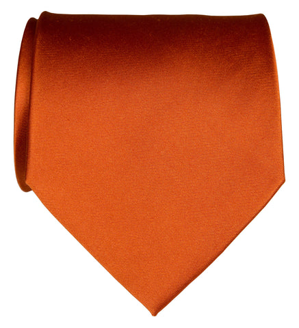 Pumpkin Spice Necktie. Medium Orange Solid Color Woven Silk Tie, No Print