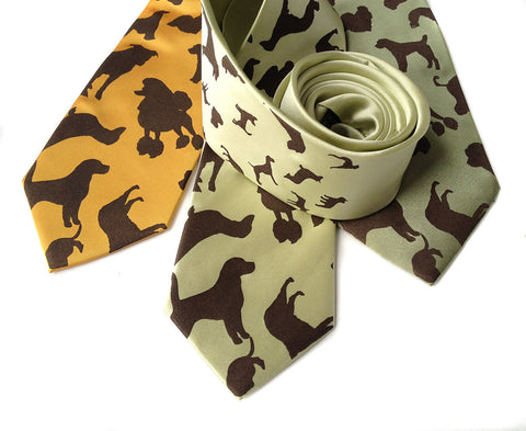 "Dog Print Silk Necktie. ""Putting on the Dog"""