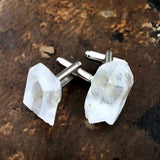 Quartz Crystal Cufflinks, raw stone crystal cuff links