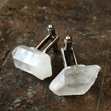 Quartz Point Cufflinks, raw stone crystal cuff links