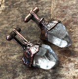 Quartz Cufflinks, electroformed copper & raw stone crystal cuff links