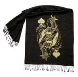 Poker Face Scarf, Queen Playing Card Linen-Weave Pashmina, by Cyberoptix
