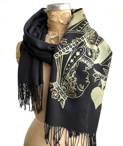 Queen of Spades Scarf, Playing Card Linen-Weave Pashmina