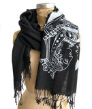 Queen of Spades Playing Card Scarf, silver on black. Linen-Weave Pashmina, by Cyberoptix