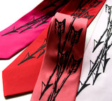Black ink on fuschia, red, rose, light pink silk.