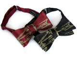 Antique brass ink on black, burgundy bow ties.