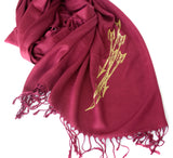 Gold ink on maroon pashmina.
