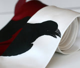 Raven necktie. Black ink on white, burgundy.