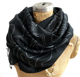 Race Track Maps Scarf, Racing enthusiast black linen-weave pashmina, Cyberoptix