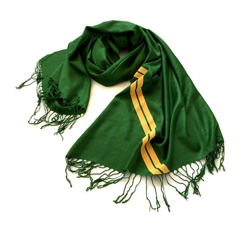 Racing Stripes: British Racing Green Linen-Weave Pashmina