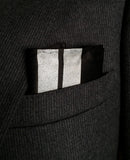 Racing Stripes pocket square: metallic silver on black.