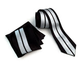 Racing Stripes pocket square + tie set: metallic silver on black.