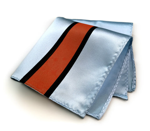 Racing Stripes Pocket Square: Le Mans Mirage microfiber handkerchief.