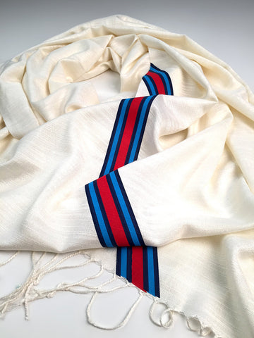 Racing Stripes Scarf: Shaken & Stirred linen-weave pashmina