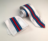 Racing Stripes pocket square & tie set: Martini-inspired Livery.