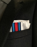Racing Stripes pocket square: Martini-inspired Livery. White handkerchief.