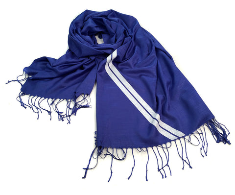 Racing Stripes: Side Oiler Linen-Weave Pashmina